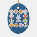Chinese Zodiac Year of the Rabbit Double-Sided Oval Ceramic Christmas Ornament