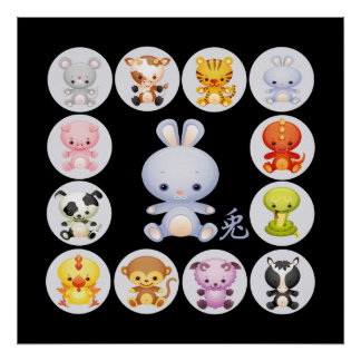 Chinese Zodiac Year of the Rabbit Poster