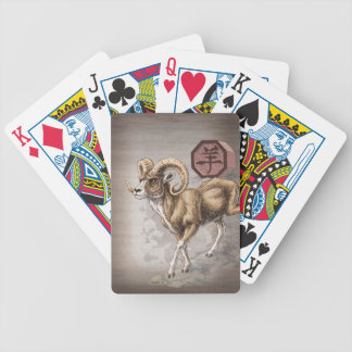 Chinese Zodiac Year of the Ram Art Bicycle Playing Cards