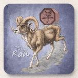 Chinese Zodiac Year of the Ram Art Drink Coaster