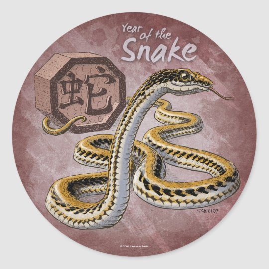 Chinese Zodiac Year of the Snake Art Classic Round Sticker