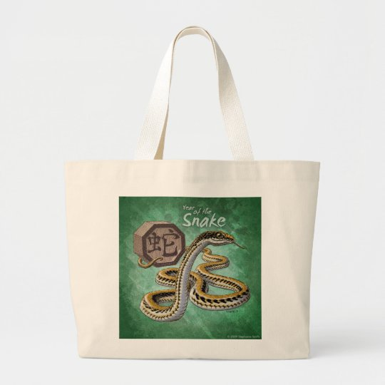 Chinese Zodiac Year of the Snake Art Large Tote Bag