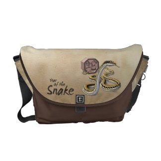 Chinese Zodiac Year of the Snake Art Messenger Bags