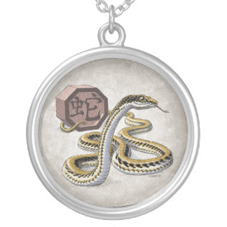 Chinese Zodiac Year of the Snake Art Round Pendant Necklace