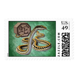 Chinese Zodiac Year of the Snake Art Postage Stamps