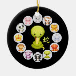 Chinese Zodiac Year of the Snake Double-Sided Ceramic Round Christmas Ornament