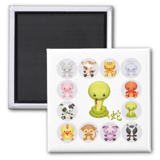 Chinese Zodiac Year of the Snake v2 2 Inch Square Magnet