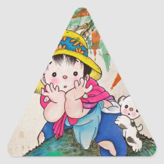 Chinestyle Kid Triangle Sticker