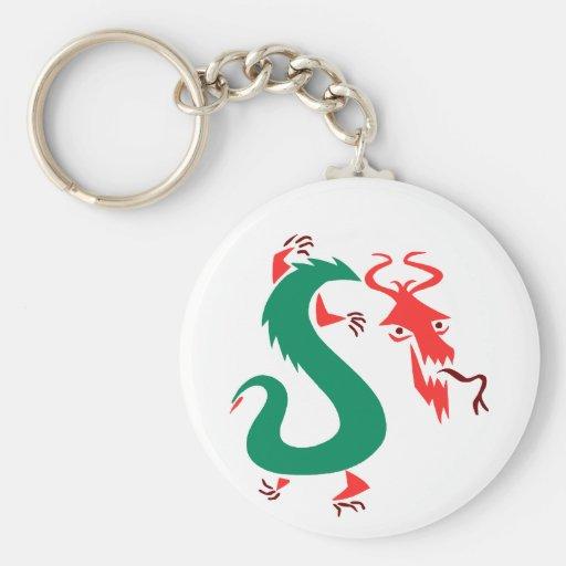 chino abstracto verde rojo dragon.png llavero