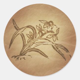 Chino de la belleza de la orquídea pegatina redonda