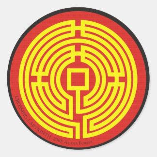 chino del laberinto de la travesía pegatina redonda