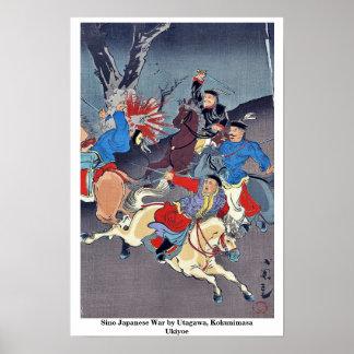 Chino guerra japonesa por Utagawa, Kokunimasa Ukiy Póster