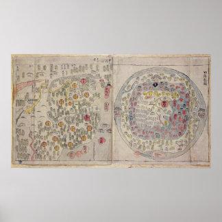 Chino mapa del mundo coreano posters