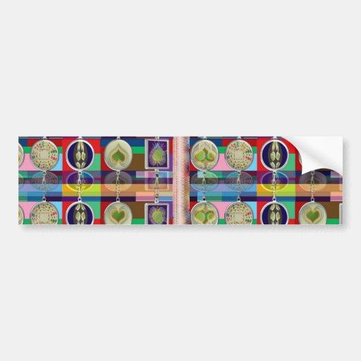 Chino oriental: Pequeñas decoraciones de los CORAZ Etiqueta De Parachoque