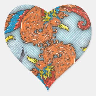 Chino Phoenix Pegatina En Forma De Corazón
