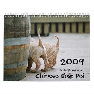 Chino Shar Pei 15 meses Calendario De Pared