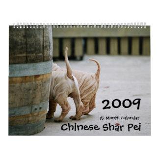 Chino Shar Pei calendario de 15 meses