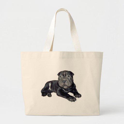 Chino Shar Pei - perrito negro Bolsas De Mano