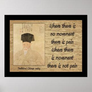 Chino tradicional que dice, poster del dolor