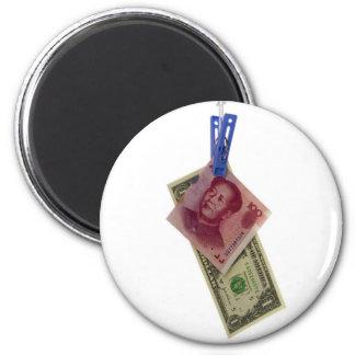 Chino y moneda de los E.E.U.U. Imán Redondo 5 Cm
