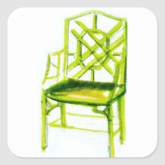 chinoiserie chair for place card square sticker