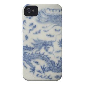 Chinoiserie chino del azul de Mónaco del dragón de Case-Mate iPhone 4 Carcasa