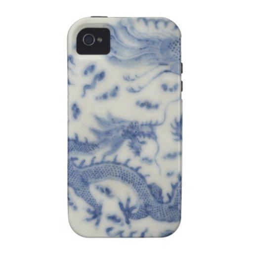 Chinoiserie chino del azul de Mónaco del dragón de iPhone 4 Carcasa