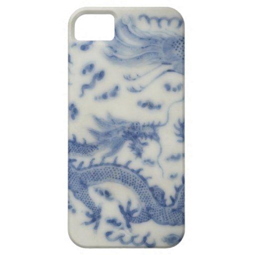 Chinoiserie chino del azul de Mónaco del dragón de iPhone 5 Case-Mate Cárcasa
