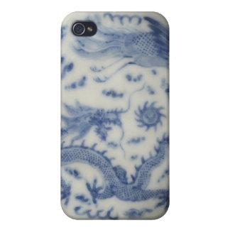 Chinoiserie chino del azul de Mónaco del dragón de iPhone 4 Protector