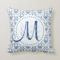 Chinoiserie Delft Blue Monogram•Custom Throw Pillow