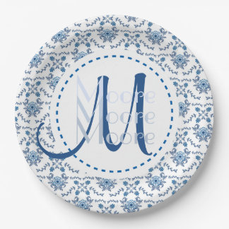 Chinoiserie Delft Blue Pattern•Custom Paper Plate