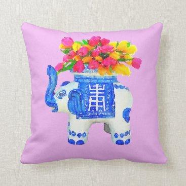 Beach Themed Chinoiserie Elephant Pillow Tulips Palm Beach