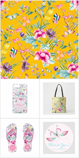 Chinoiserie Floral & Butterflies