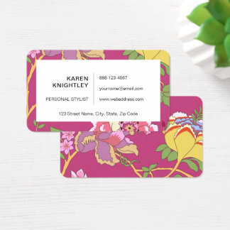 Chinoiserie Floral Design Poppy Pink Business Card