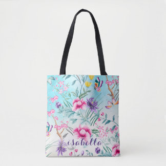 Chinoiserie Floral Pattern All Over Pattern Tote Bag