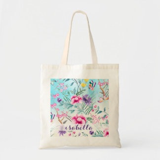 Chinoiserie Floral Pattern Tote Bag