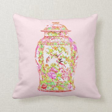 Beach Themed Chinoiserie Ginger Jar Pillow Pink Asian Chinese
