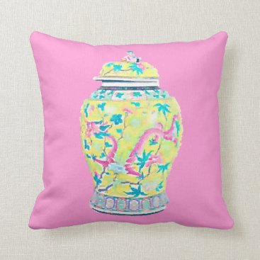 Beach Themed Chinoiserie Ginger Jar Pillow Yellow Asian Chinese