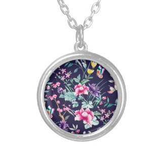 CHINOISERIE - NAVY BASE SILVER PLATED NECKLACE
