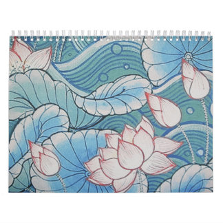 Chinoiserie Pastel Oriental Pink & Blue Floral Wall Calendar