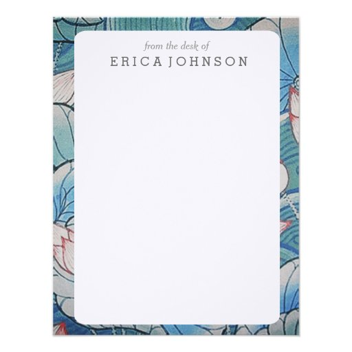 Chinoiserie Pastel Oriental Pink & Blue Floral Personalized Announcement