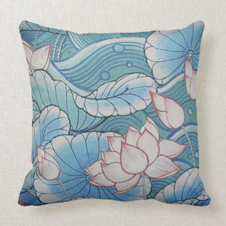 Chinoiserie Pastel Oriental Pink & Blue Floral Throw Pillow