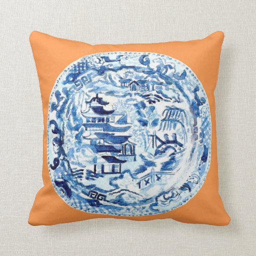 CHINOISERIE PLATE ON TANGERINE THROW PILLOWS