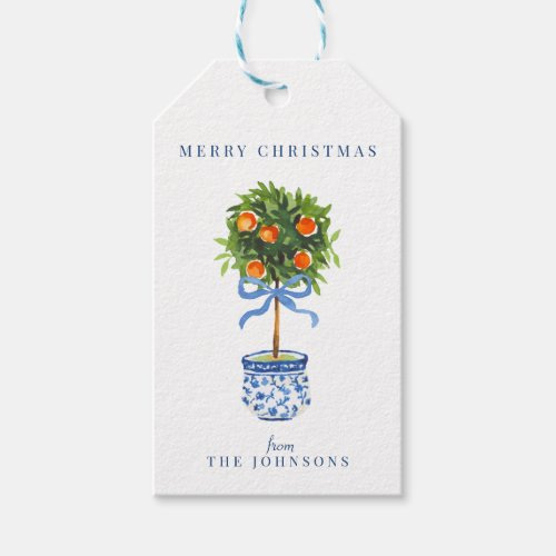 Chinoiserie Pottery Orange Topiary Tree Blue Gift Gift Tags