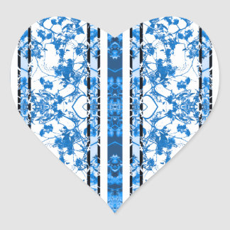 Chinoiserie Striped Floral Print Heart Sticker