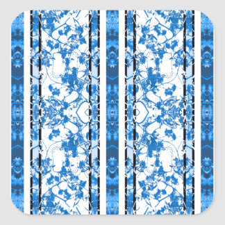 Chinoiserie Striped Floral Print Square Sticker