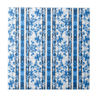 Chinoiserie Striped Floral Print Tile