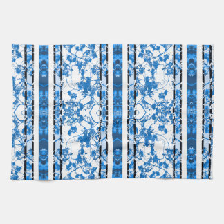 Chinoiserie Striped Floral Print Towels