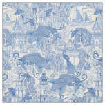 chinoiserie toile blue fabric