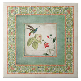 Chinoiserie Vintage Hummingbirds n Flowers Coral Ceramic Tile
